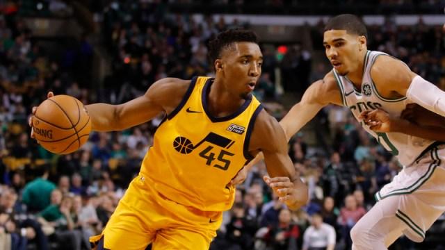 Utah Jazz Guard Donovan Mitchell And Boston Celtics Forward Jayson Tatum
