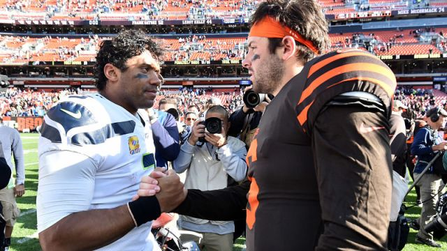 Seattle Seahawks quarterback Russell Wilson and Cleveland Browns quarterback Baker Mayfield