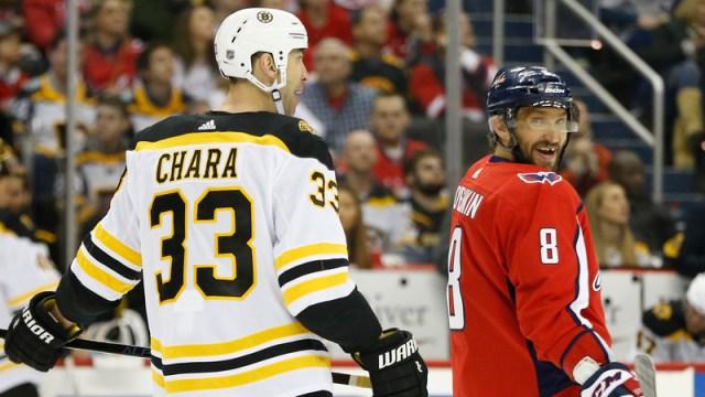 Bruins defenseman Zdeno Chara, Washington Capitals forward Alexander Ovechkin