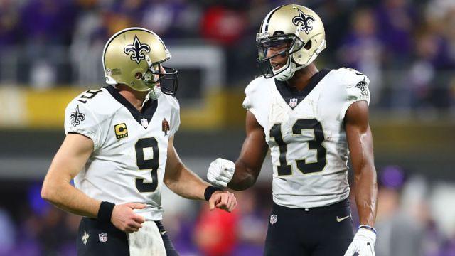 New Orleans Saints quarterback Drew Brees and wide receiver Michael Thomas