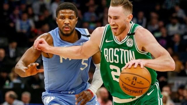 Boston Celtics forward Gordon Hayward (20) and Minnesota Timberwolves forward Malik Beasley (5)