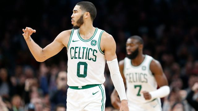 Boston Celtics forward Jayson Tatum and guard Jaylen Brown