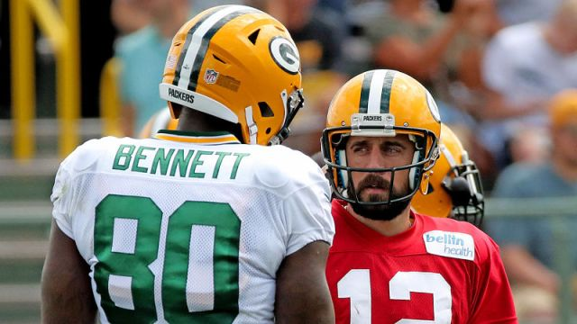 Former NFL tight end Martellus Bennett and Green Bay Packers quarterback Aaron Rodgers