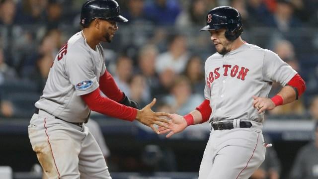 Boston Red Sox shortstop Xander Bogaerts (left) and former infielder Steve Pearce