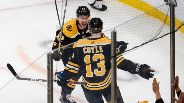 Bruins forwards Sean Kuraly, Charlie Coyle