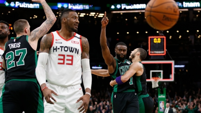 Boston Celtics forwards Jaylen Brown (7) and Jayson Tatum (0)