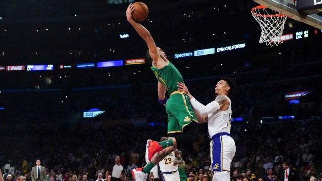 Boston Celtics forward Jayson Tatum (0) and Los Angeles Lakers guard Danny Green (14)