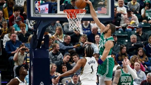 Boston Celtics forward Jayson Tatum and Indiana Pacers