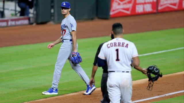 Los Angeles Dodgers pitcher Joe Kelly and Houston Astros shortstop Carlos Correa
