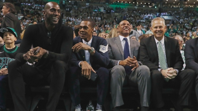 Former Boston Celtics (left to right) Kevin Garnett, Rajon Rondo, coach Doc Rivers and current general manager Danny Ainge