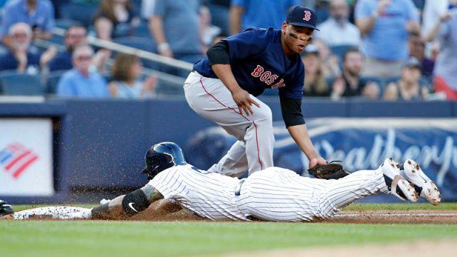 Boston Red Sox third baseman Rafael Devers and New York Yankees shortstop Gleyber Torres