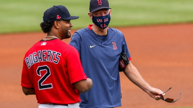 Boston Red Sox manager Ron Roenicke and shortstop Xander Bogaerts