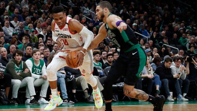 Houston Rockets guard Russell Westbrook and Boston Celtics forward Jayson Tatum