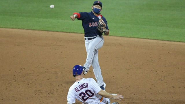 Boston Red Sox infielder Tzu-Wei Lin and New York Mets first baseman Pete Alonso