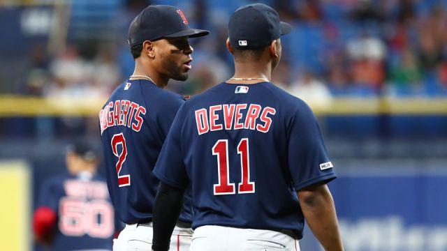 Boston Red Sox shortstop Xander Bogaerts and third basemen Rafael Devers