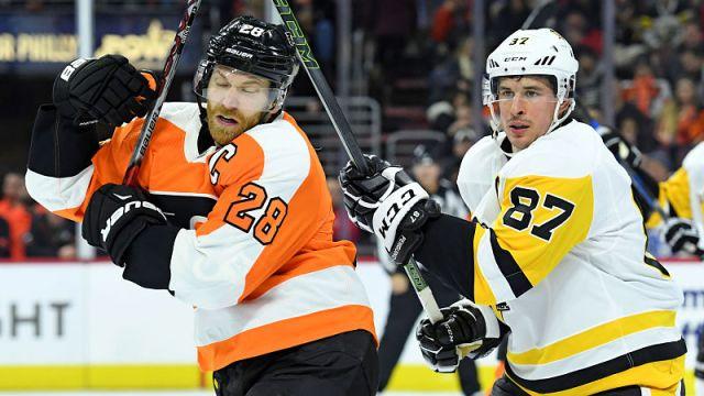 Philadelphia Flyers forward Claude Giroux and Pittsburgh Penguins forward Sidney Crosby