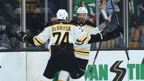 Boston Bruins forwards Jake DeBrusk, David Krejci