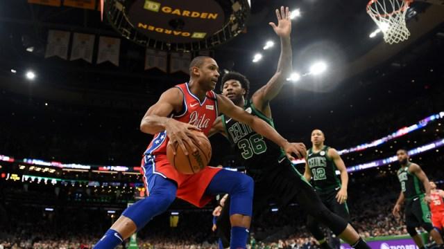 Philadelphia 76ers Center Al Horford And Boston Celtics Guard Marcus Smart