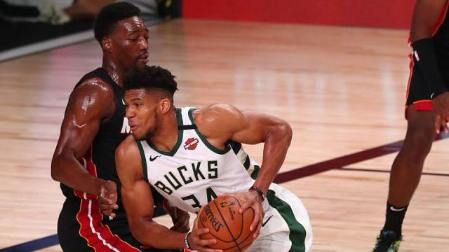 Miami Heat forward Bam Adebayo and Milwaukee Bucks forward Giannis Antetokounmpo