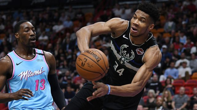 Miami Heat center Bam Adebayo and Milwaukee Bucks forward Giannis Antetokounmpo