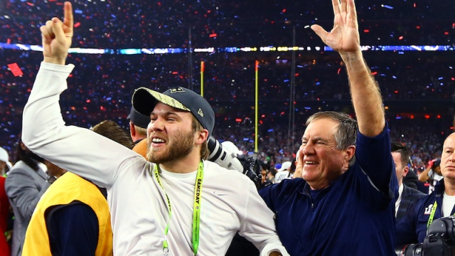 Patriots coaches Brian Belichick, Bill Belichick