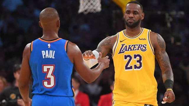 Oklahoma City Thunder point guard Chris Paul and Los Angeles Lakers forward LeBron James
