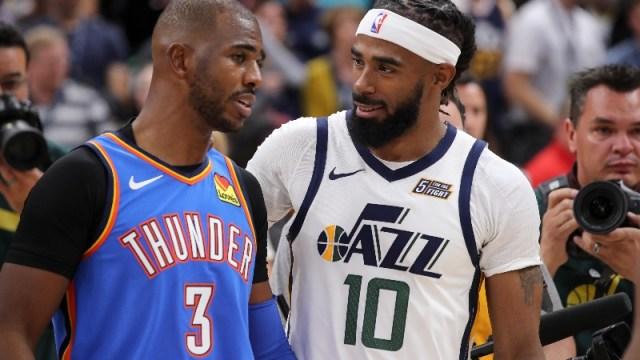 Oklahoma City Thunder guard Chris Paul (3) and Utah Jazz guard Mike Conley (10)