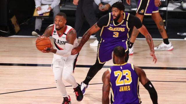 Portland Trail Blazers guard Damian Lillard, Los Angeles Lakers forward Anthony Davis, Los Angeles Lakers forward LeBron James