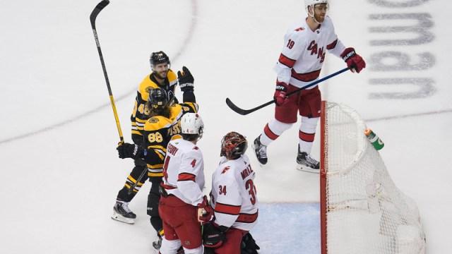 Boston Bruins Forwards David Pastrnak And David Krejci