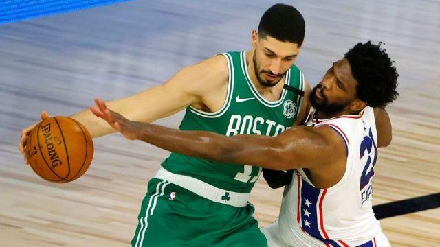 Celtics center Enes Kanter, Philadelphia 76ers center Joel Embiid