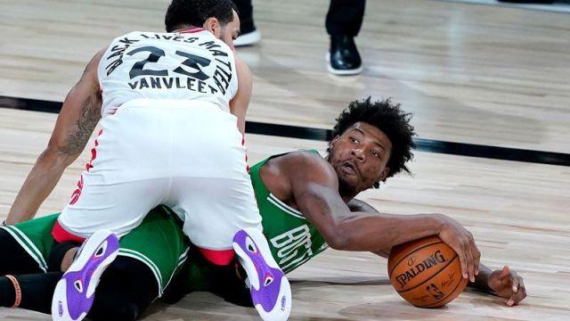 Toronto Raptors guard Fred VanVleet, Boston Celtics guard Marcus Smart