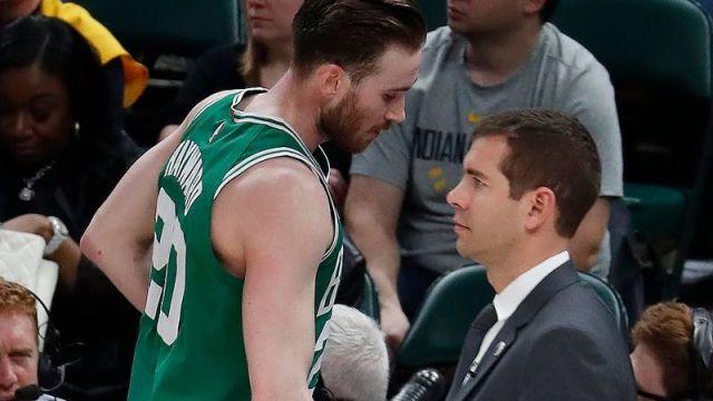 Boston Celtics forward Gordon Hayward, Boston Celtics coach Brad Stevens