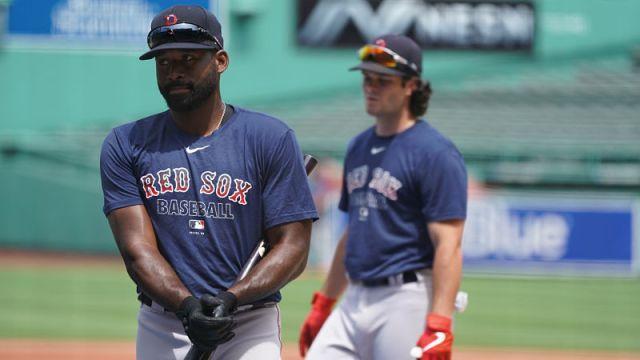 Boston Red Sox outfielders Jackie Bradley Jr. and Andrew Benintendi