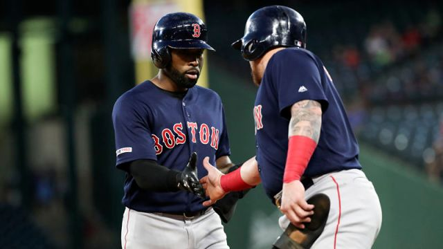 Boston Red Sox outfielder Jackie Bradley Jr. and catcher Christian Vazquez