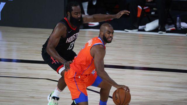 Houston Rockets guard James Harden and Oklahoma City Thunder guard Chris Paul