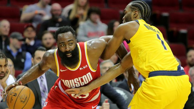 Houston Rockets guard James Harden and Indiana Pacers forward T.J. Warren
