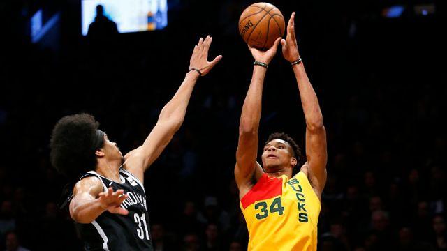 Brooklyn Nets center Jarrett Allen and Milwaukee Bucks forward Giannis Antetokounmpo