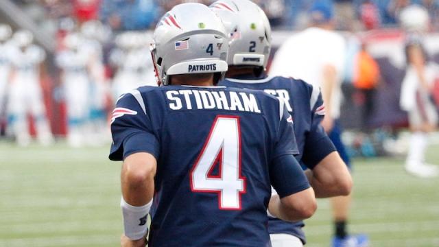 Patriots quarterbacks Jarrett Stidham, Brian Hoyer