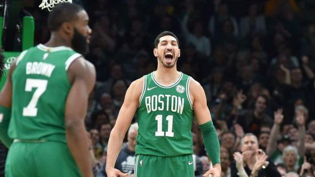 Boston Celtics guard Jaylen Brown, Boston Celtics center Enes Kanter