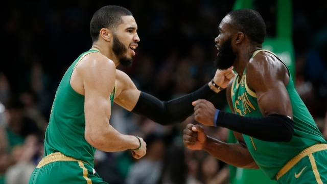 Boston Celtics forward Jayson Tatum (left) and guard Jaylen Brown (right)