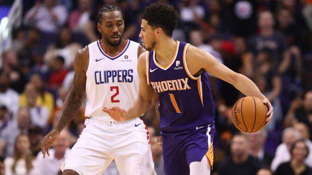 Los Angeles Clippers forward Kawhi Leonard and Phoenix Suns guard Devin Booker