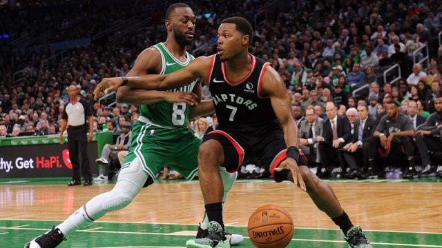 Boston Celtics guard Kemba Walker and Toronto Raptors guard Kyle Lowry