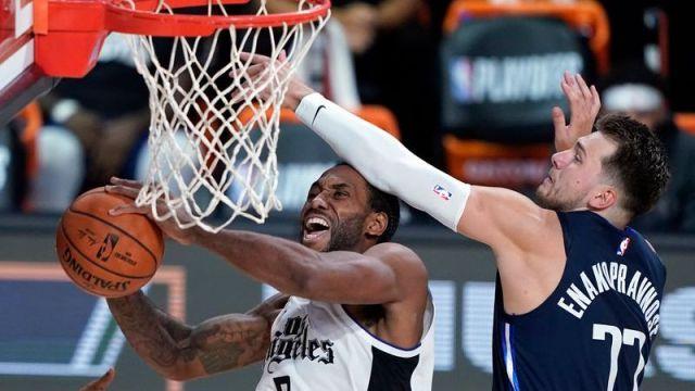 Los Angeles Clippers Kawhi Leonard, Dallas Mavericks' Luca Doncic