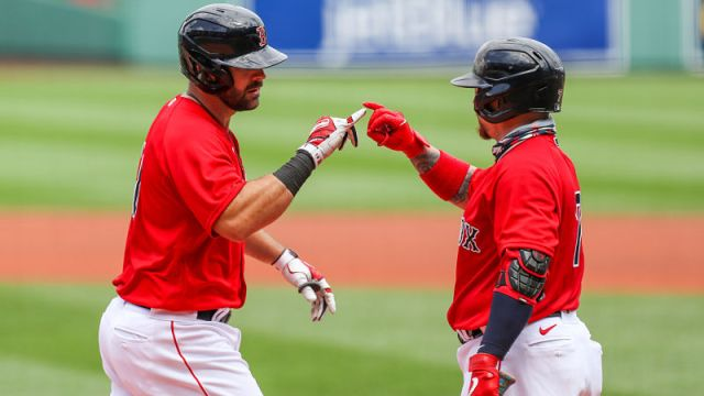 Boston Red Sox first baseman Mitch Moreland and catcher Christian Vazquez