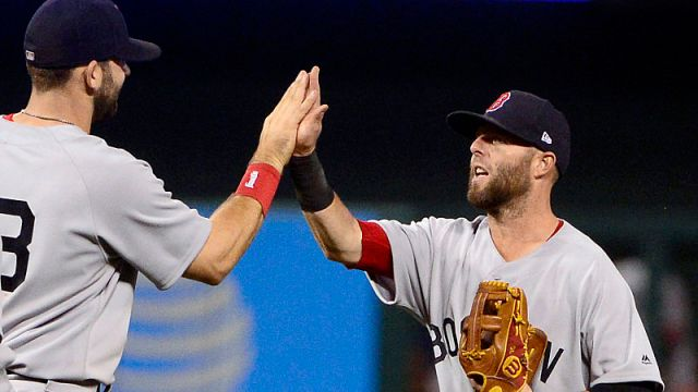 Boston Red Sox first baseman Mitch Moreland and second baseman Dustin Pedroia
