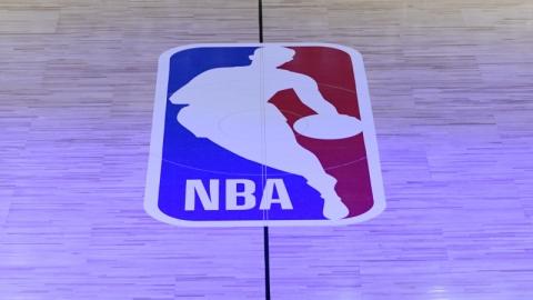 NBA logo basketball court