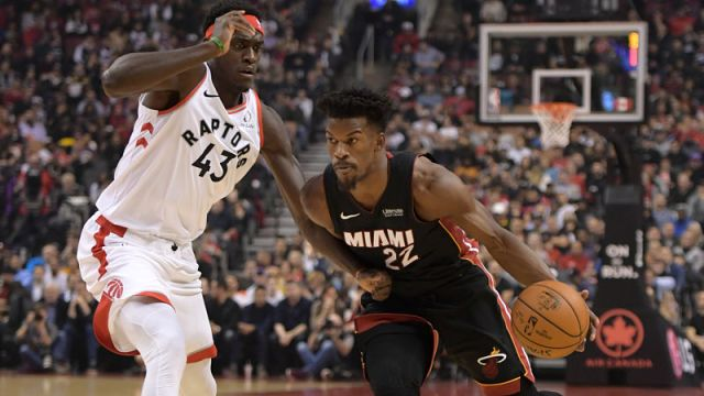 Toronto Raptors forward Pascal Siakam and Miami Heat guard Jimmy Butler