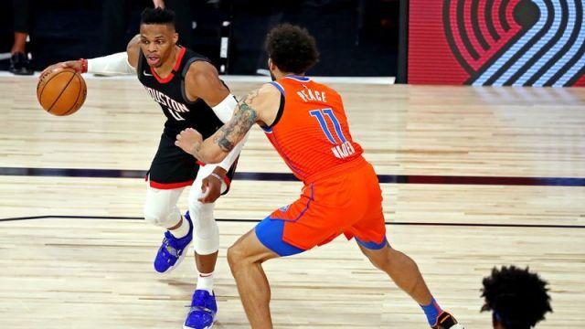Houston Rockets guard Russell Westbrook, Oklahoma City Thunder forward Abdel Nader