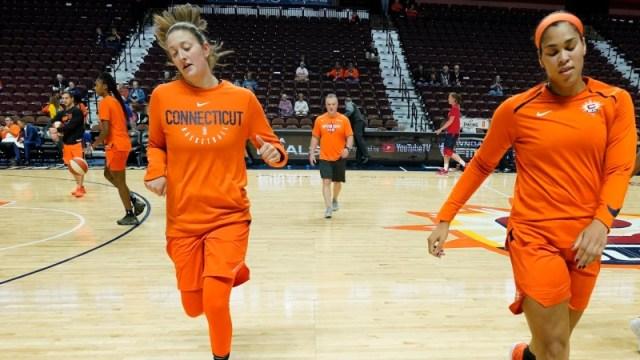 Connecticut Sun forward Theresa Plaisance (55) and center Brionna Jones (42)