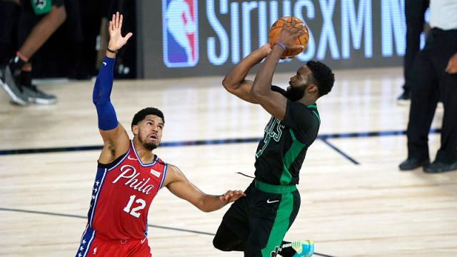 Philadelphia 76ers forward Tobias Harris and Boston Celtics guard Jaylen Brown